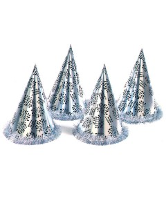 Silvester Party-Hut Happy New Year silber-schwarz 28x16cm