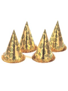 Silvester Party-Hut Happy New Year gold-schwarz 28x16cm