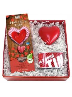 Hab dich lieb Geschenkset 4-teilig rot-weiss 23x23x7,5cm