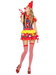 Süsse Clownfrau Damenkostüm Harlekin bunt