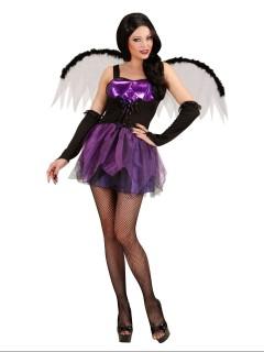 Dunkle Gothic Fee Halloween Damenkostüm lila-schwarz
