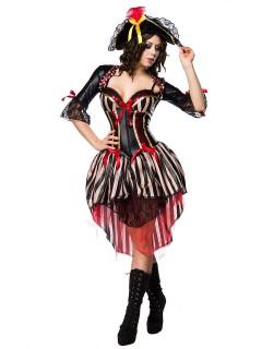 Edle Piratin Damenkostüm Seeräuberin schwarz-rot-weiss