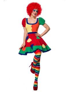 Süsse Clownfrau Damenkostüm mit Perücke Zirkus bunt