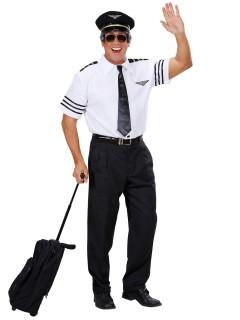 Pilot Kostüm-Set Kapitän weiss-dunkelblau