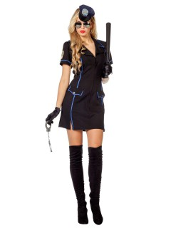 Sexy Polizistin Damenkostüm schwarz-blau