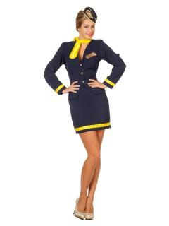 Sexy Retro Stewardess Damenkostüm dunkelblau-gelb