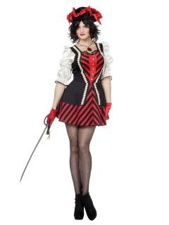 Elegante Piratin Damenkostüm Freibeuterin schwarz-rot-weiss