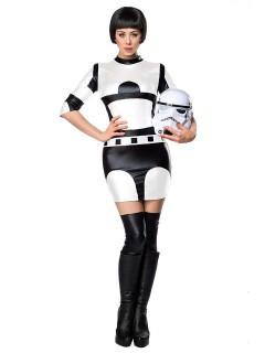 Sexy Sci-Fi Damenkostüm Space Kriegerin weiss-schwarz