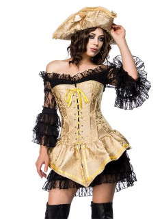 Heisse Piraten-Braut Damenkostüm Freibeuterin gold-schwarz