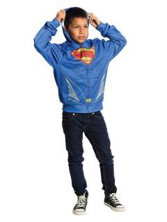 DC Superman Zip-Hoddie für Kinder Lizenzware blau-gelb-rot