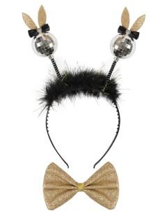 Discokugel Haarreif mit Hasen-Ohren und Fliege schwarz-bunt
