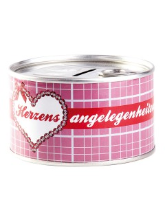Spardose  Herzensangelegenheiten  Geschenk silber-pink 10,5x6cm