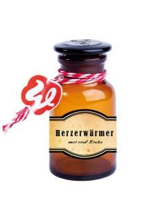 Apotheker-Flasche Herzerwärmer Geschenk braun 4,5 x 8,5 cm