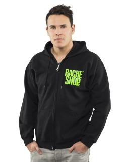 Racheshop Zipper Sweat-Hoodie schwarz-grün
