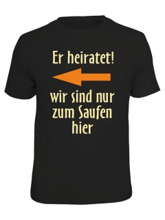 JGA T-Shirt Er heiratet! links schwarz-orange-beige