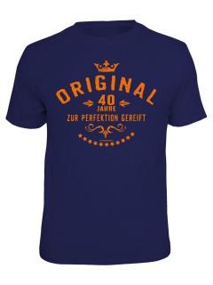 T-Shirt 40 Jahre zur Perfektion gereift dunkelblau-orange