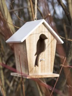 Vogelhäuschen Garten-Deko aus Holz hellbraun-weiss 18x15,5x11cm