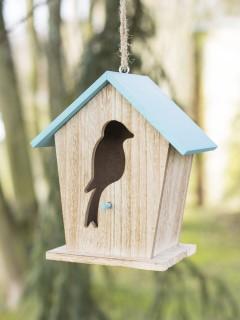 Vogelhäuschen Garten-Dekoration aus Holz braun-blau 18x15,5x11cm