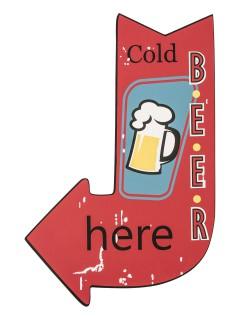 Cold Beer Wegweiser Holz-Schild Partydeko bunt 37x25cm