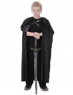 Mittelalter-Krieger Fell-Umhang für Kinder Nachtwache-Kostüm schwarz