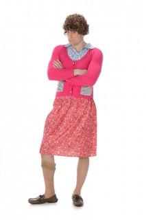 Grossmutter Männerballett Kostüm pink-blau