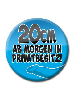 JGA-Party Button Ab Morgen 20cm in Privatbesitz blau 50mm