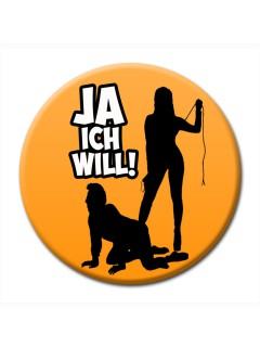 JGA-Party Button Ja, ich will orange 50mm