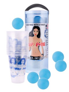Strip Pong Bier-Pong Party-Spiel Set 29-teilig weiss-blau 10,5x26cm