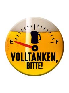 Party-Button Volltanken orange-schwarz-weiss 50mm