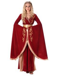 Fantasy Königin Mittelalter Damenkostüm rot-gold