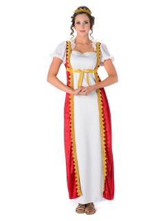 Mittelalter Hofdame Damenkostüm weiss-rot-gold