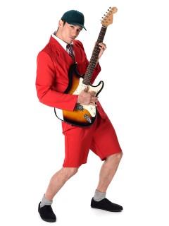 Schul-Band Rockstar Kostüm rot