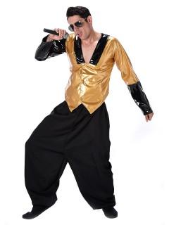 80er-Jahre Rapper Kostüm Hiphop gold-schwarz
