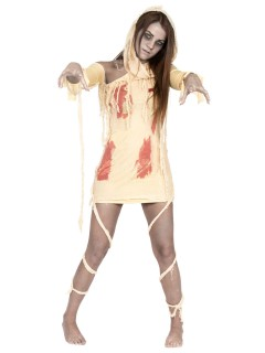 Blutige Mumie Halloween-Damenkostüm beige-rot