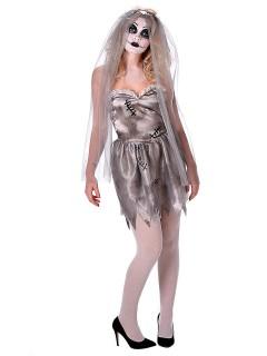 Geister-Braut Halloween Damenkostüm grau-weiss
