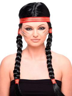 Indianerin Zopf-Perücke mit Haarband schwarz-rot