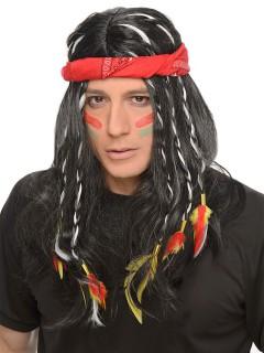 Indianer Perücke mit Haarband und Federschmuck schwarz-bunt