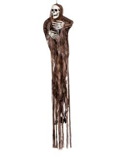 Gruseliger Geist mit Leuchtaugen Halloween-Hängedeko Skelett schwarz-braun 120x100x10cm
