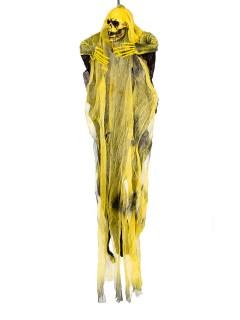 Schauriger Geist Halloween-Hängedeko Skelett schwarz-gelb 60cm