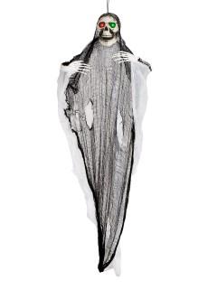 Riesiger Geist mit Leuchtaugen Halloween-Hängedeko Skelett schwarz-weiss 190x169x17cm