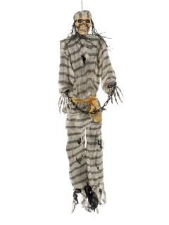 Sträfling Skelett in Ketten Halloween-Hängedeko Skelett grau-weiss 106x30x10cm