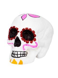 Tag der Toten Sugar Skull Totenschädel Halloween-Deko weiss-pink 18x15x16cm