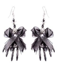 Halloween-Ohrringe mit Skull und Hexenhänden schwarz 6,5x5x1cm