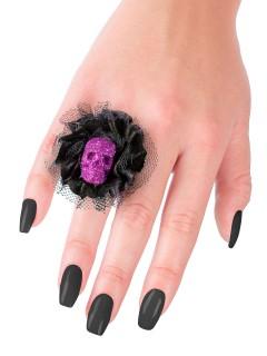 Halloween-Ring mit Schädel und Spitze schwarz-lila 5x5x2cm