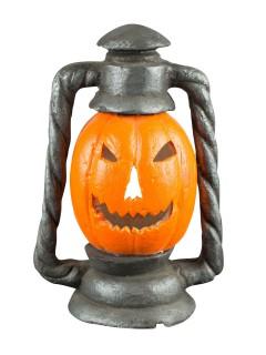 Gruselige Kürbis-Laterne Halloween-Deko orange-grau 31cm