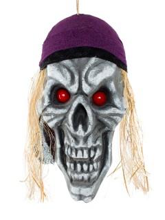 Piraten-Totenschädel Halloween-Deko Totenkopf grau-lila-rot 42x22x11cm