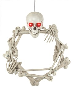Skelett-Türkranz mit Knochen und Leuchtaugen Halloween-Deko weiss 55cm
