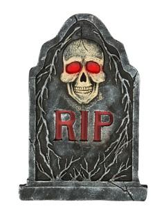 Skelett Grabstein mit Leuchtaugen Halloween-Deko grau 57x40cm
