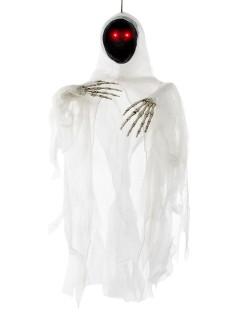 Gruseliger Geist mit Leuchtaugen Halloween-Hängedeko Phantom weiss-schwarz 100x84cm