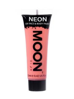 Moon Glow - Neon UV Gesicht- und Körperfarbe Schminke Makeup Bodypainting fluoreszierend pastell koralle 12ml